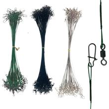 Assorted 32lb/35lb Fishing Line Steel Wire Leader With Rolling Swivels Duo-Lock Snap Anti-bait Carp Leadcore Leash