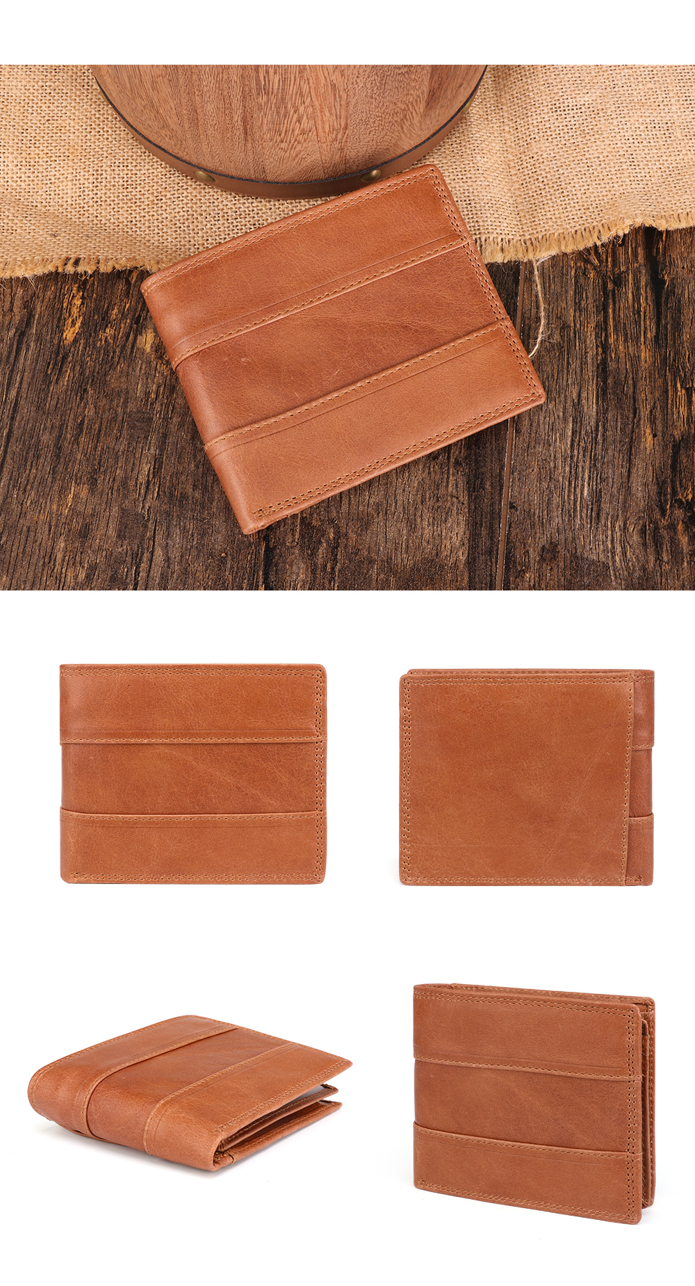He4c11235b1ff4691af678501be61d2f5c - GENODERN Cow Leather Men Wallets with Coin Pocket Vintage Male Purse Function Brown Genuine Leather Men Wallet with Card Holders