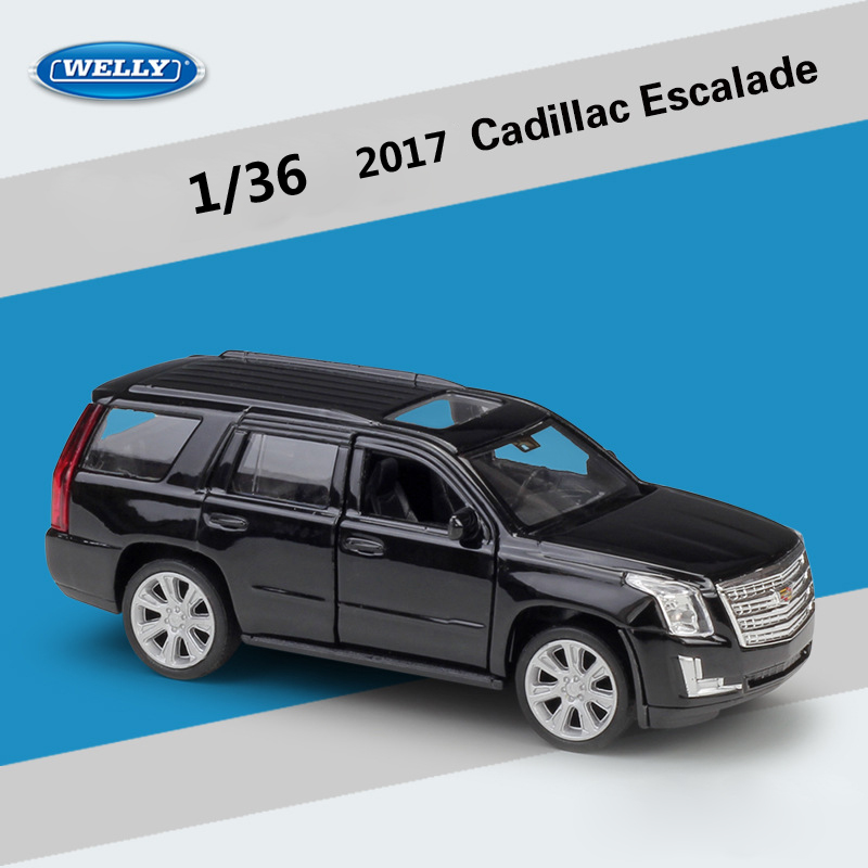WELLY Diecast 1:36 Scale 2017 Cadillac Escalade SUV Simulator Pull Back Car Model Car Metal Alloy Toy Car Vehicle For Kids Gifts