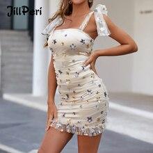 Jillperi Vrouwen Sequin Party Dress Sexy Mouwloze Stropdas Schouder Flare Outfit Sweet Chic Celebrity Verjaardag Sexy Ster Mesh Jurk
