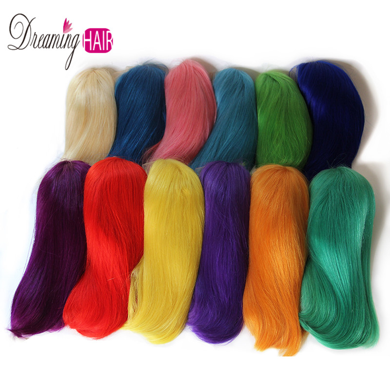 He4c1460b3ab74b1f8ff6aec0435d19457 13x6 Blue Bob Lace Front Human Hair Wigs Pre Plucked 613 Honey Blonde Purple Green Burgundy Yellow Ombre Colored Human Hair Wigs