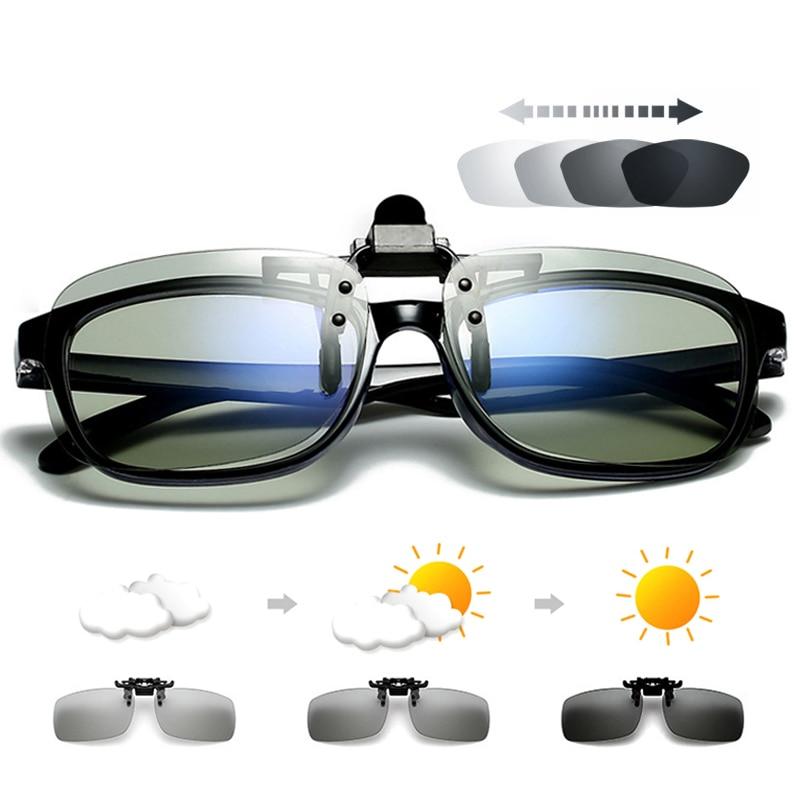 Polarized Square Fishing Flip Up Clip on Sunglasses Men Photochromic Aviation UV400 Sun Glasses for Night Vision Lens