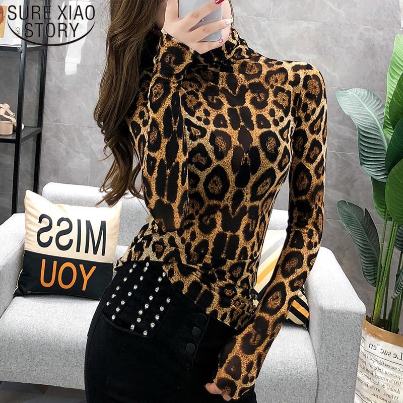 Elegante Plus Size Tops Fashion Women Long Sleeve Leopard Blouse Turtleneck Shirt Ladies OL Party Top Streetwear Blusas  7704 50 1