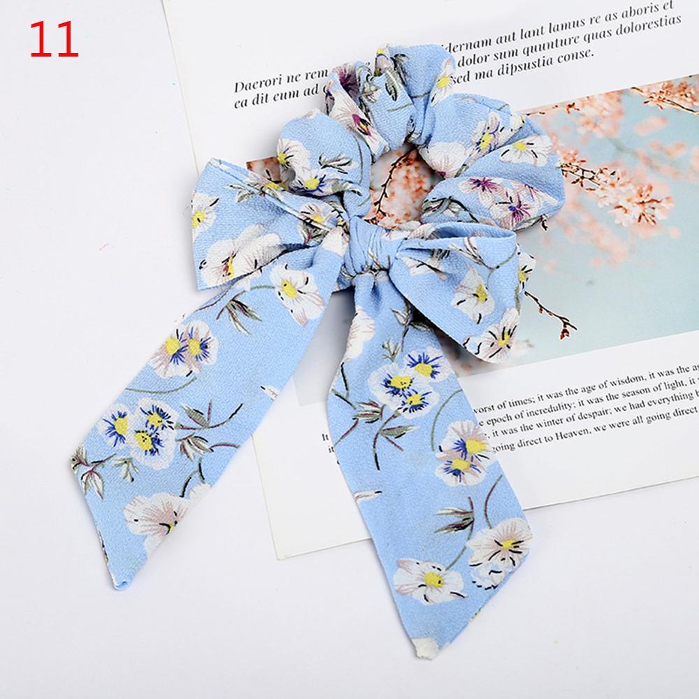 Femmes banderoles chouchous à pois imprimé Floral élastique noeud cheveux corde fille cheveux cravates coréen doux cheveux accessoires chapeaux 13