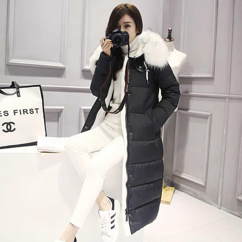 Kadın kışlık mont Parka artı boyutu 3XL kalın giyim sıcak kapşonlu palto uzun kadın gevşek pamuk yastıklı temel ceketler Tops