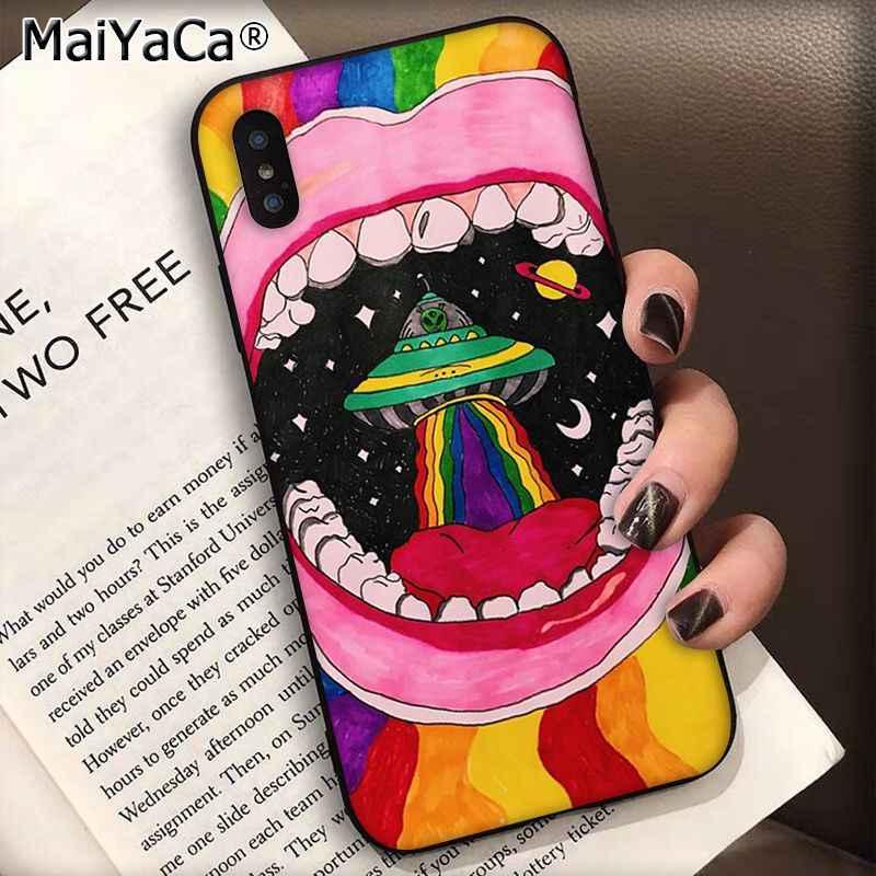 Maiyaca Trippy Dây Buộc Hòa Bình Ngoài Hành Tinh Ốp Lưng Điện Thoại Cho iPhone SE 2020 11 PRO 8 7 66S Plus X XS Max 5 5S SE XR Trường Hợp
