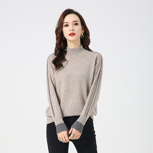 LHZSYY 2019Autumn Winter New Womens Half-High Collar 100%Pure Cashmere Sweater Loose Splice Bottoming shirt Short Warm Pullover