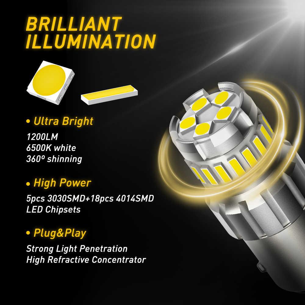 2 sztuk P21W LED Canbus 1156 BA15S BAY15D żarówka LED 1157 P21/5W R5W T15 światła samochodowe biały bursztynowy żółty światła hamowania światło cofania DRL