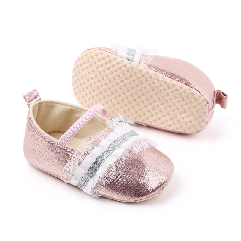 Toddler Girl Soft Sole Crib Shoes Sequins Flat Sneaker Baby Lace Blue Silver Pink Shoes Cute Prewalker PU MoccasinsGirls #11