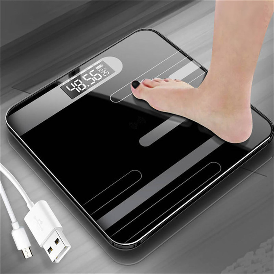 New Bathroom Floor Body Scale Glass Smart Electronic Scales USB Charging LCD Display Body Weighing Home Digital Weight Scale