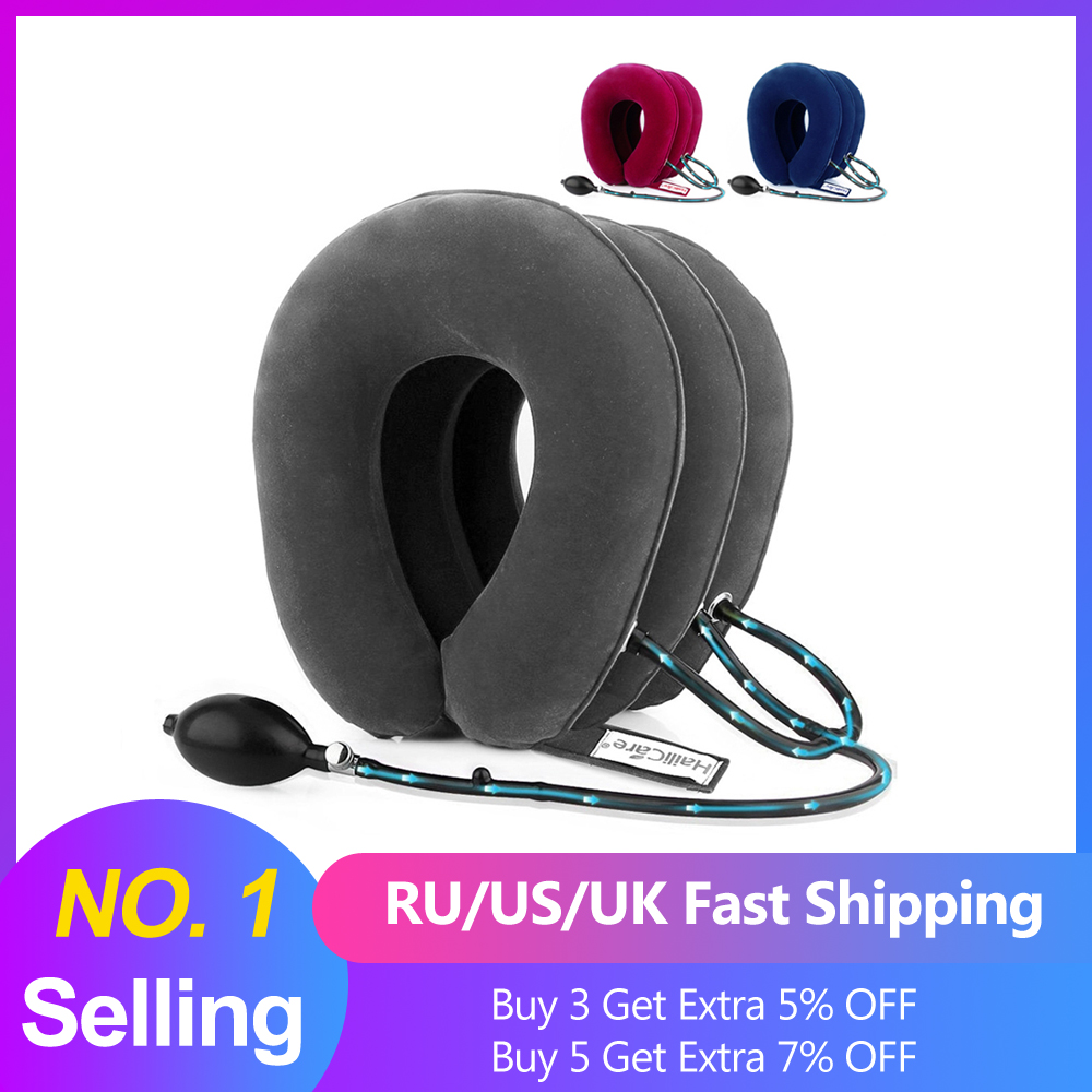 US Stock3 Layer Inflatable Air Cervical Neck Traction Device Soft Neck Collar for Pain Relief Neck Stretcher Pain Releave(China)