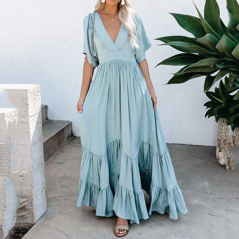 A Line Maxi Dress Women Vintage Bohemian Summer V-Neck Long Dress Casual Praty Dresses Beach Dresses Ladies Long Vestido Mujer