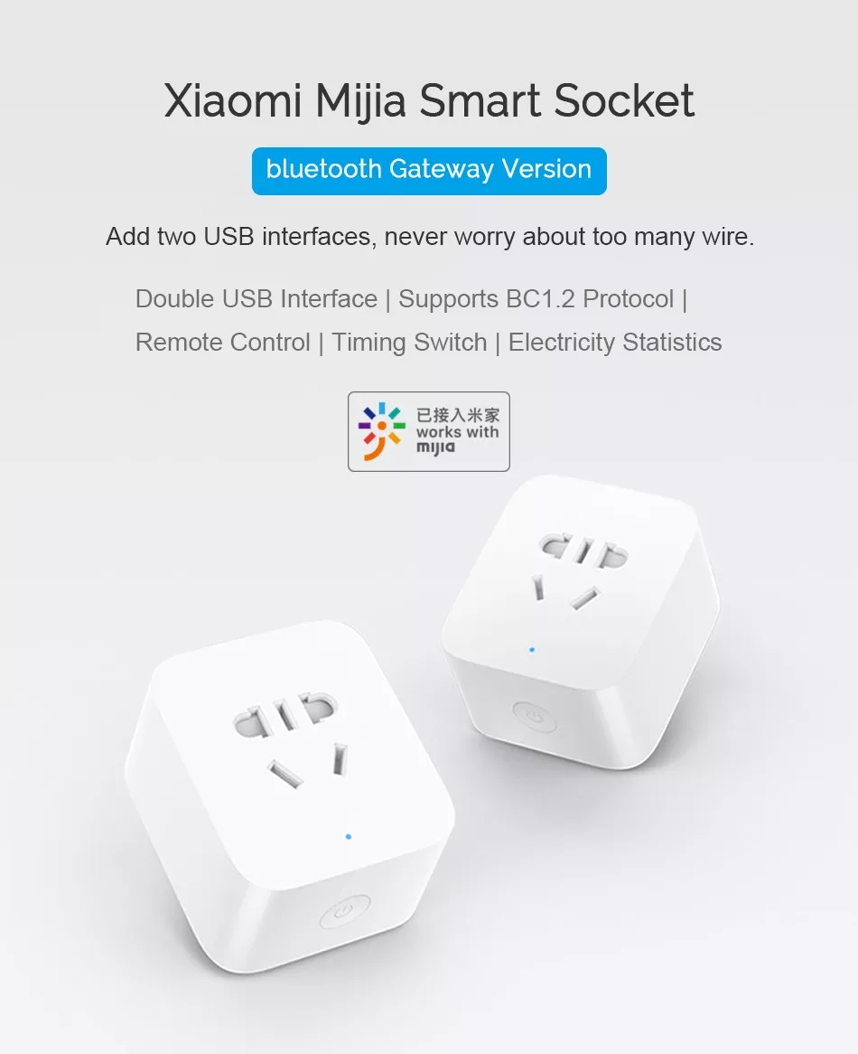 New Xiaomi Mijia Smart Socket Bluetooth Gateway Edition Dual USB Smart WIFI Socket Power Adapter Mijia Smart Home Device (1)