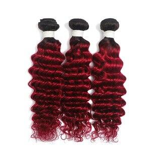 Image 5 - Deep Wave Human Hair Bundles 8 26 Inch 1PC Ombre Blonde Brown Red Hair Weave Bundles SOKU Brazilian Non Remy Hair Extensions