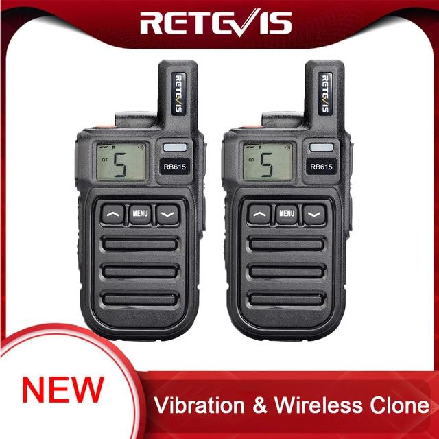 Vibration Reminder Retevis RB615 Mini PMR Walkie Talkie 2pcs PMR446 PMR Radio FRS VOX Handsfree Two way Radio Wireless Cloning