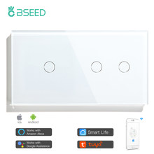 Bseed 1/2Gang 1/2/3way Wifi Control Light Switch Touch Switch Wall Switch 3 Color Crystal Panel Smart Switch Work With Tuya