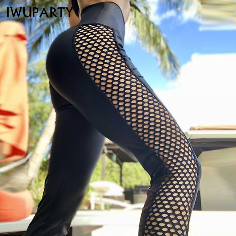 Sexy Mesh Splicing Leggings Push Up GYM Sports Pants Hollow Out Squat Female Contraction Hips Fitness Pants High Waist Trousers
