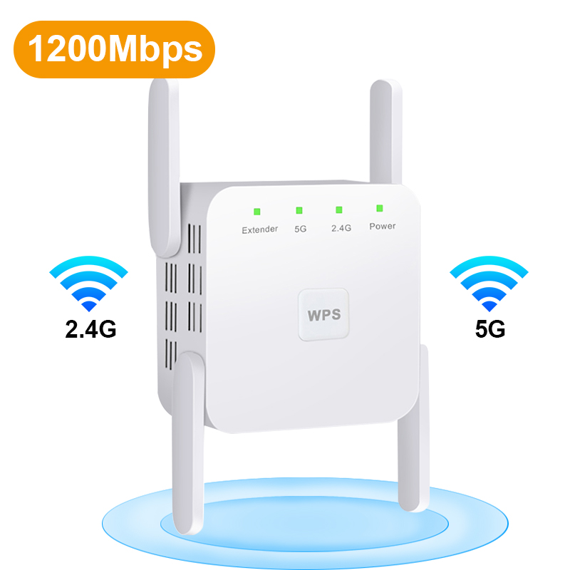 Wireless WiFi Repeater Wi Fi Booster 2.4G/5G Wi-Fi Amplifier Signal WiFi Long 300/1200 Mbps Range Extender 802.11ac Access Point