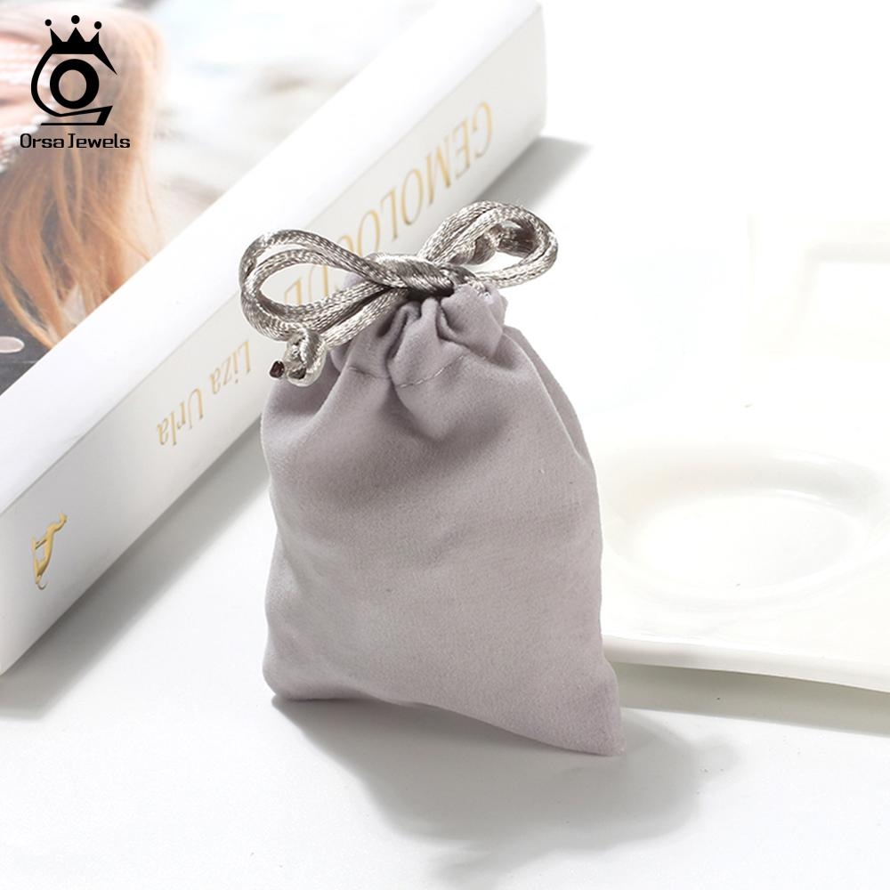 ORSA JEWELS Velvet Pouches 7*9cm Jewelry Gift Packing Gray Drawstring Velvet Bags For Wedding Party Candy Bag Wholesale BZH13