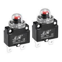 Disjoncteur thermique uxcell 16A 125/250V ca 32V c. C bouton poussoir réinitialiser le commutateur de protection de surcharge avec capuchon étanche 2 pièces