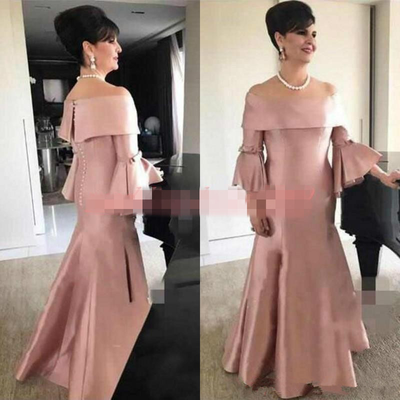 Noble Satin Vestido De Madrinha Boat Neck Formal Dusty Pink Evening Party Wedding Guest Dress 2019 Mother Of The Bride Dresses