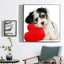 Arts-Craft-Kit for Adults Love-Dog-Design Full-Round-Drill Handmade 5D DIY Painting Embroidery