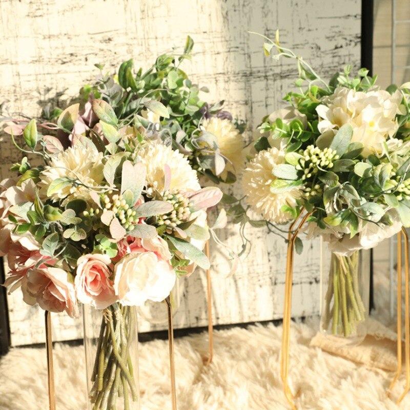 Букет из искусственных цветов пиона, 1 букет цветов с шариками, искусственные цветы, домашний декор, свадебный подарок, сделай сам, Рождество...