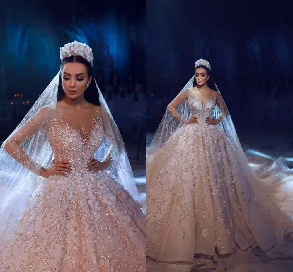 יוקרה ארוך שרוולי תחרת כדור שמלת חתונת שמלות 2020 3D פרחוני Appliqued תחרה כלה שמלות חתונה שמלת 100% נדל תמונה