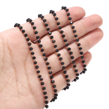 1 Meter Stainless Steel Black/Dark Green/Red Glass Rondelle Faceted 3.5mm Beads Rosary Chains for Necklace Jewelry Accessories