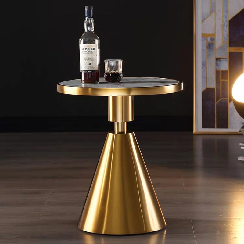 U-BEST Contemporary Design Round Gold Stainless Steel Marble Top Bistro Table Coffee Table Pub Table For Hotel Club Cafe