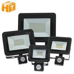 Czujnik PIR reflektory LED AC220V 10W 20W 30W 50W 100W PIR przełącznik indukcyjny LED reflektor do drzwi garaż oświetlenie uliczne. w Reflektory LED od Lampy i oświetlenie na