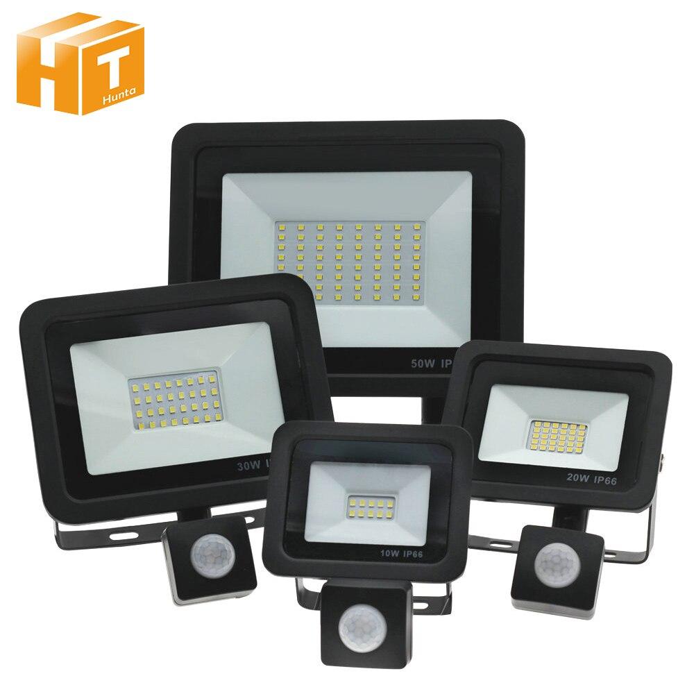 PIR sensörü LED spot AC220V 10W 20W 30W 50W 100W PIR indüksiyon anahtarı LED projektör kapı için garaj sokak aydınlatması.