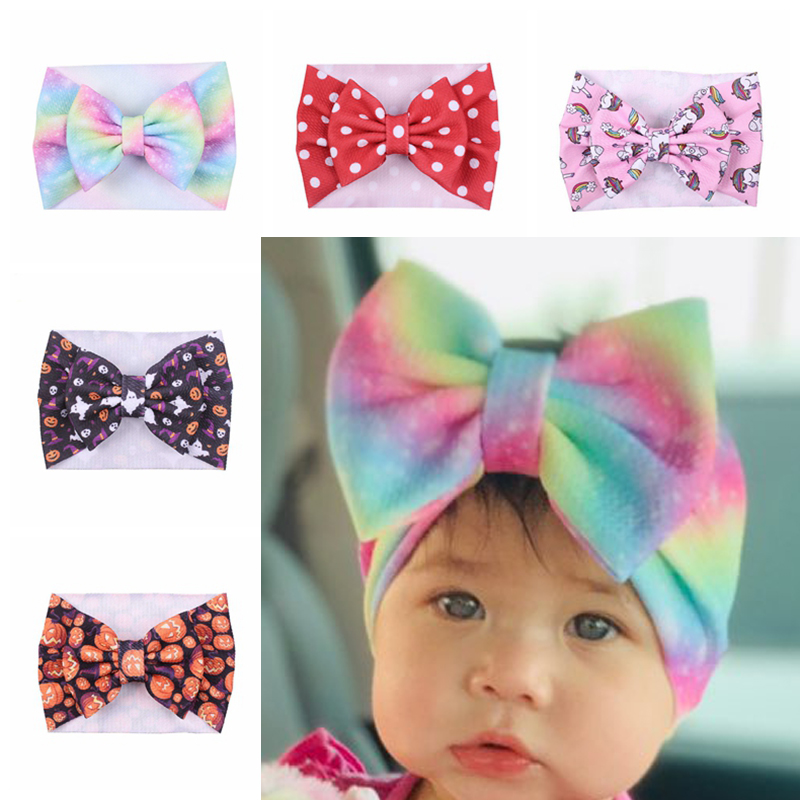 Baby Headband Halloween Girl Headbands Toddler Floral Printing Turban Bow Headwrap Newborn Wide Hairband Infant Hair Accessories