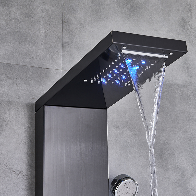 He4c24b99d853429197eb13bd3a375958f Newly Luxury Black/Brushed Bathroom Shower Faucet LED Shower Panel Column Bathtub Mixer Tap With Hand Shower Temperature Screen