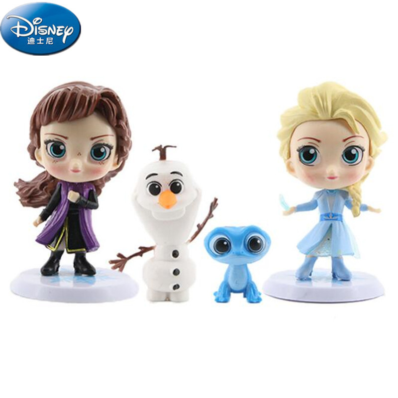 Q Version Cute 4pcs/set Disney Frozen 2 Princess Elsa Anna Olaf Salamanders Bruni Action Figure Doll Birtdhay Gift Cake Deco