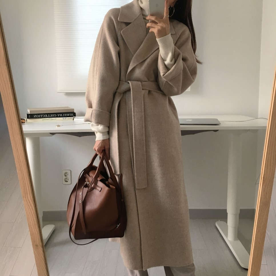 He4c257a1ccc440a382af8bff531cf7aa4 - Winter Revers Collar Solid Woolen Overcoat with Belt