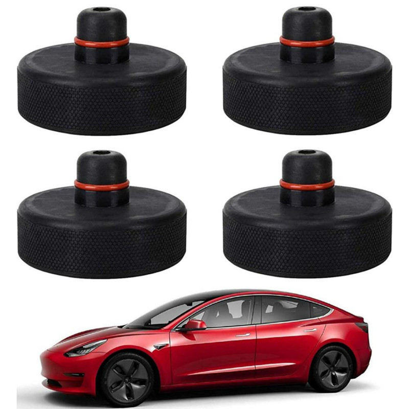 4Pcs auto Black Rubber Jack Lift Point Pad Adapter For Tesla Model 3/S/X Jack Pad Tool Chassis Jack Car Styling Accessories