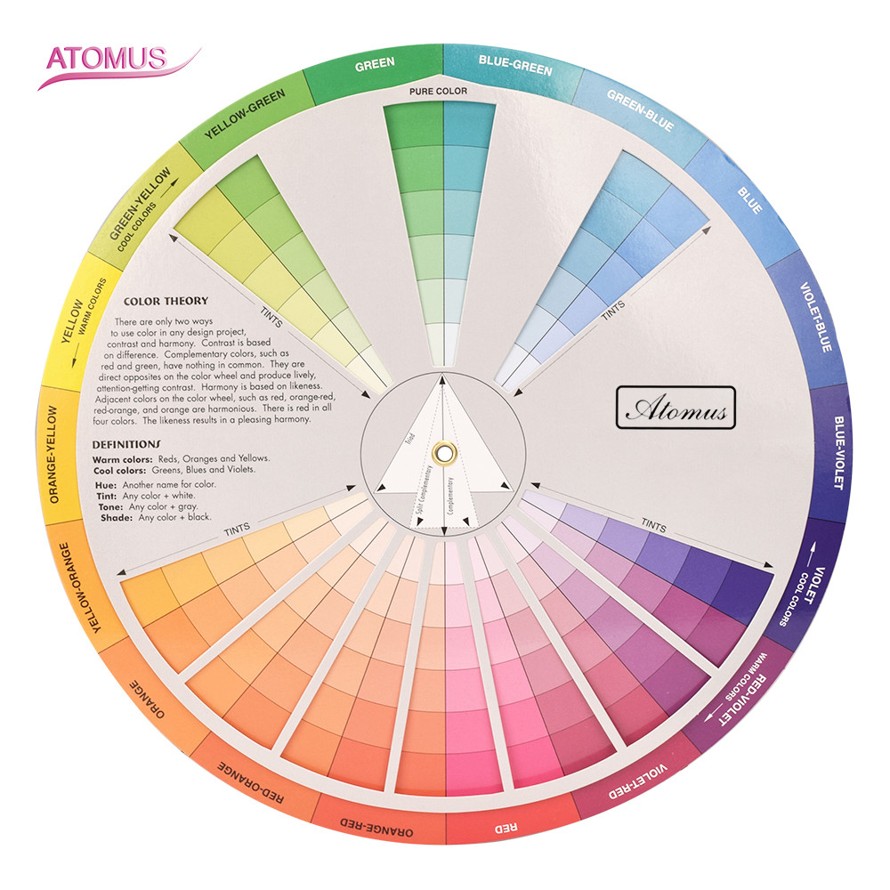 New Professional Tattoo Nail Pigment 12 Color Wheel Paper Card Three-tier Design Mix Guide Round The Central Circle Rotates