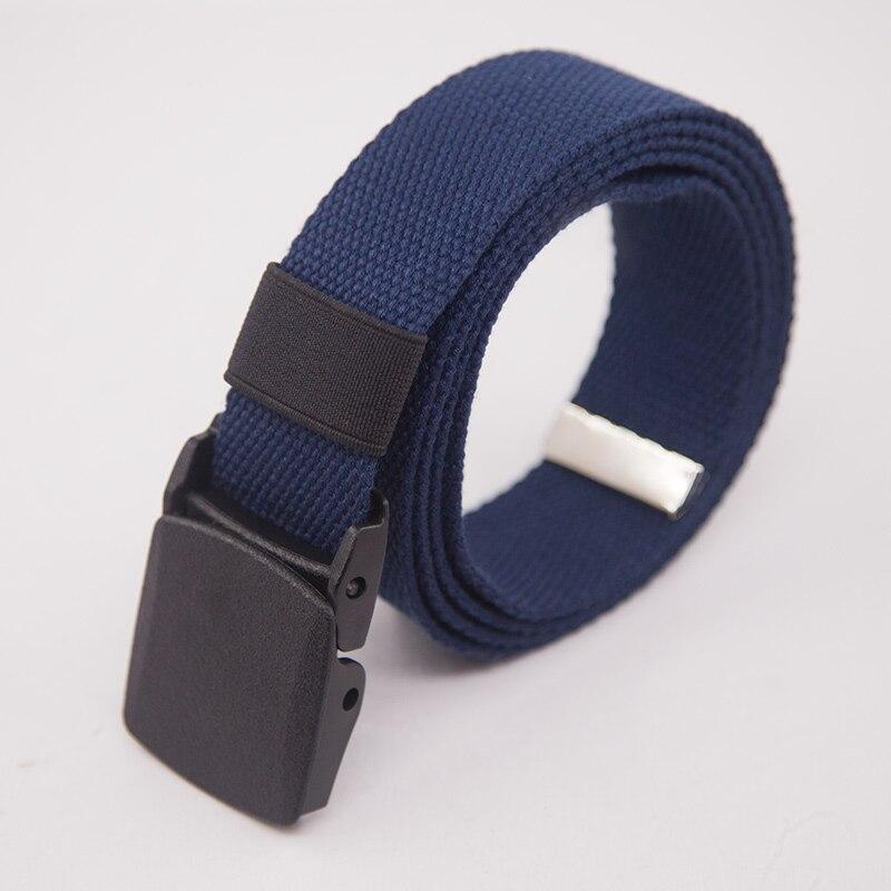Холщовый ремень для мужчин женщин поясной ремень Мода пластик Пряжка повседневное Ковбой Черный мужской ремень cinturones para mujer для Жан - Цвет: Blue