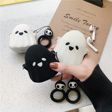 Stylish Cute 3D Ghost Silicone bluetooth Wireless Earphone Case For Apple AirPods 1 2 Protect Cover Skull Pattern Finger Ring
