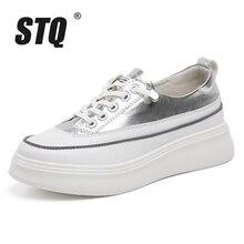 STQ zapatos planos de piel auténtica con cremallera para mujer, zapatillas de deporte a la moda de color mezclado para primavera y otoño, YY826, 2020