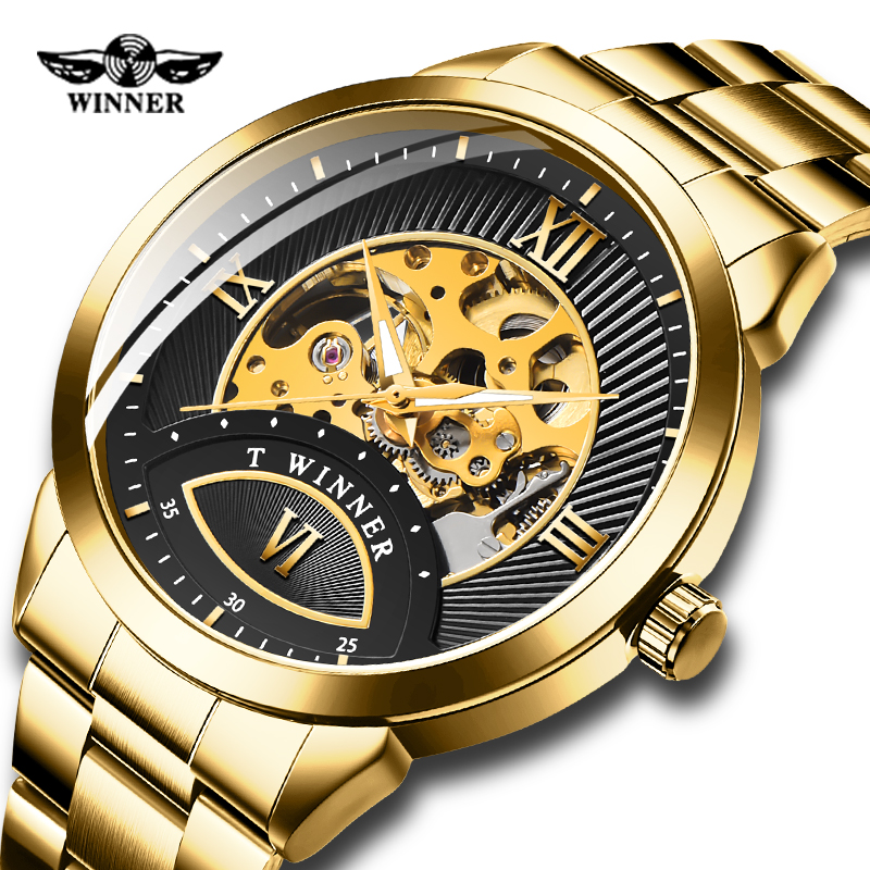 Automatic Mechanical Watch Men Watch Skeleton Steampunk Fashion Luminous Hand Full Stailness Golden Watches for Mens Gifts Clock