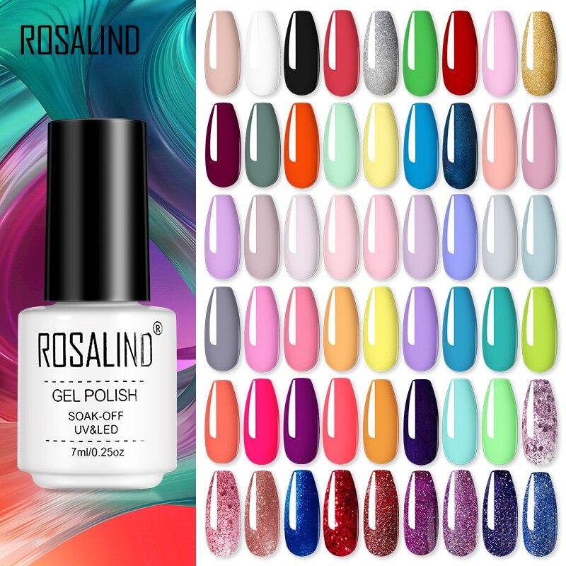 Гель-лак ROSALIND полуперманентный для ногтей, для маникюра, нейл-арта, УФ гибридные Лаки, праймер для базового и топового покрытия ногтей