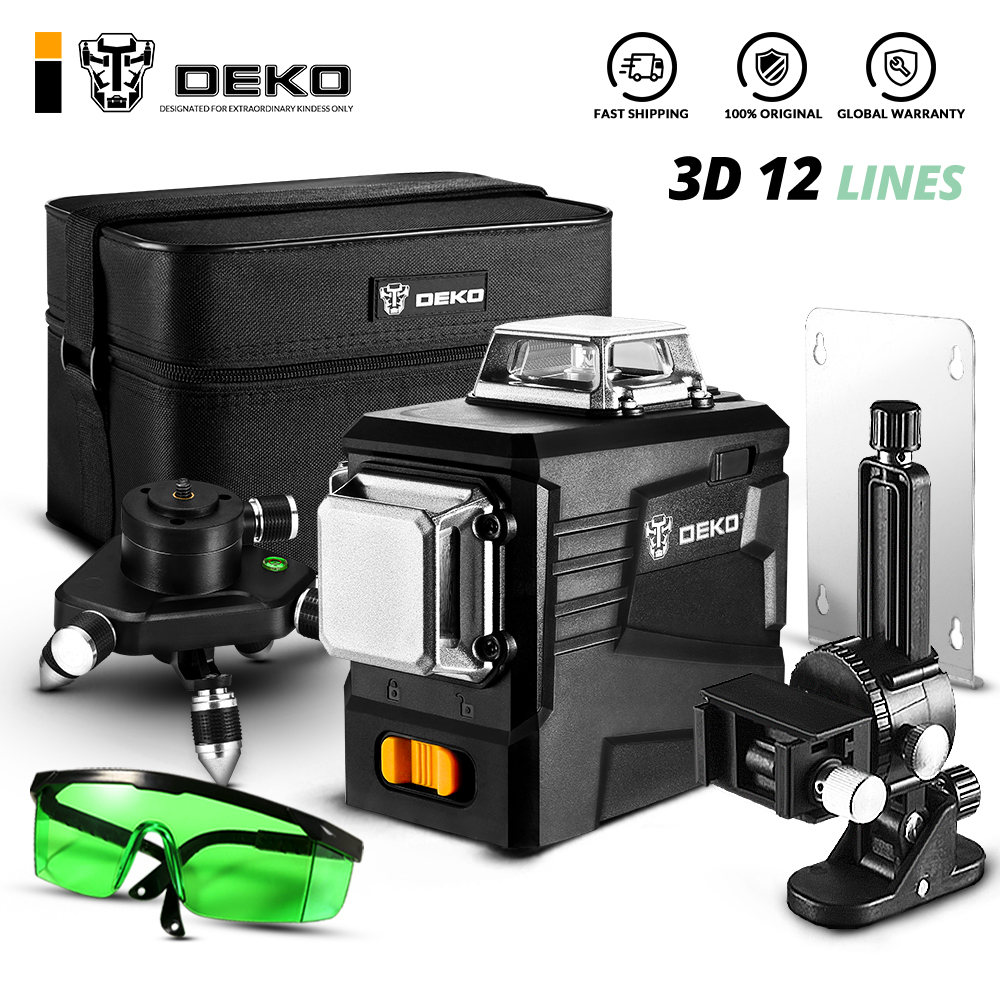DEKO DKLL12PB2 3D 12 Lines Green Laser Level 30m Working Range Horizontal&Vertical Cross Lines Self Leveling Laser Levels    - AliExpress