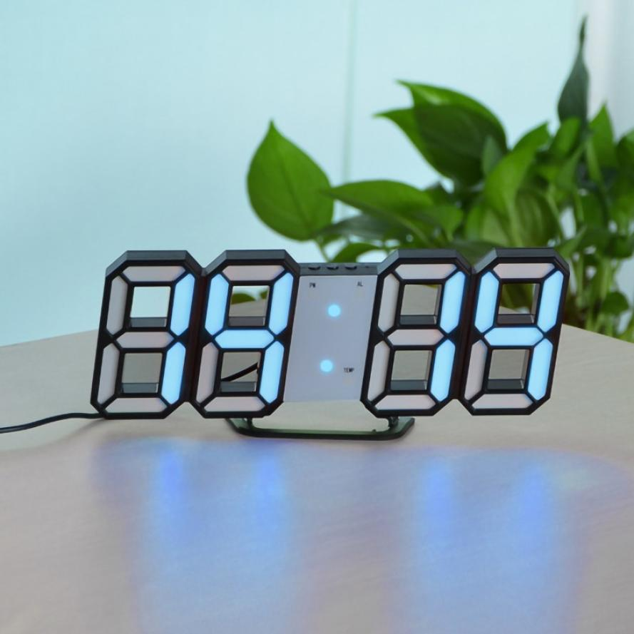 3D Digital Clock LED Large Screen Temperature Electronic Clock Wall Hanging Home Decor Table Desktop Clock Brightness Adjustable image