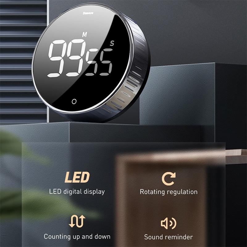Image 3 - Baseus Cronômetro digital, cronômetro magnético eletrônico com relógio e alarme em LED digital para o escritório, banheiro, cozinhaSuporte universal p/ carro   -
