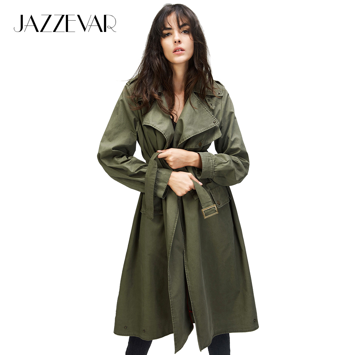 JAZZEVAR 2019 Autumn New Fashion Women's Casual   trench   coat Cotton Vintage Washed Military Outwear Loose Clothing with belt
