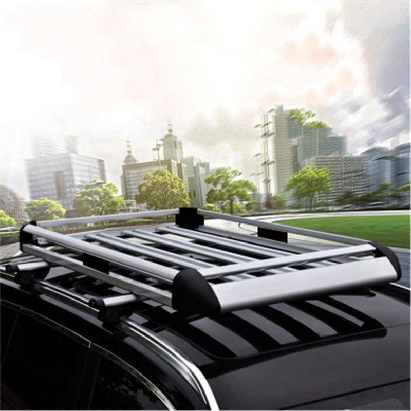Silver Aluminum Roof Rack Cargo Car Top Luggage Carrier Basket Traveling