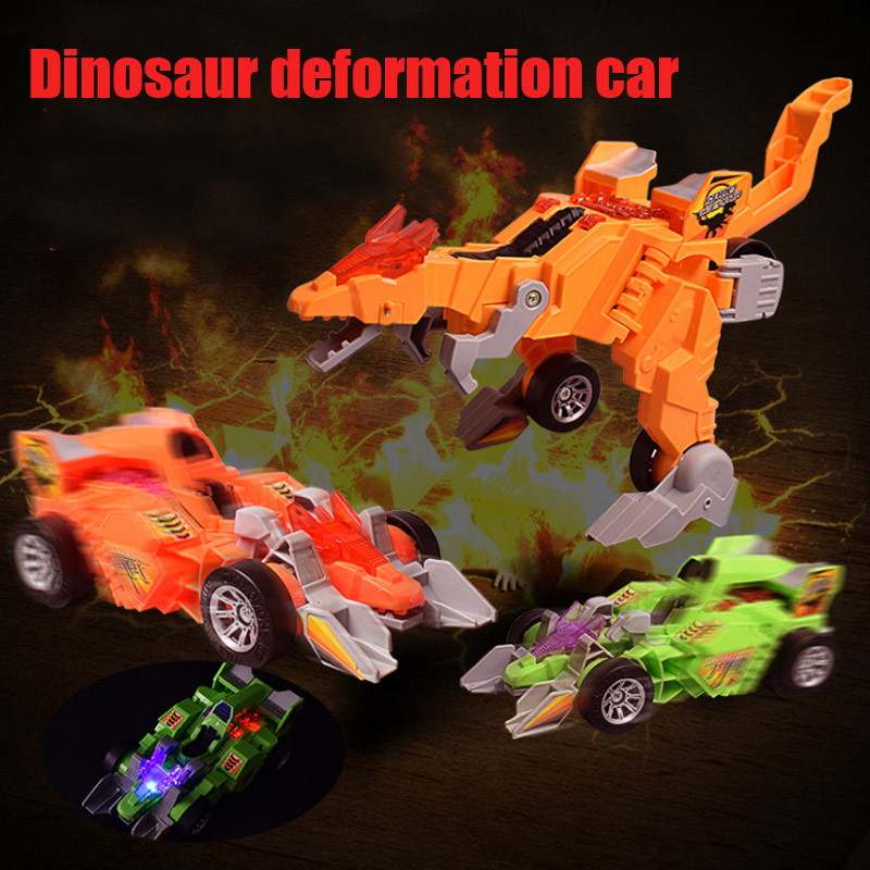 LED Deformation Car Toy Dinosaur Playing Toys With Light Music Gifts For Kids S7JN