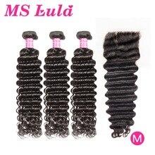 MS Lula Brazilian Hair Deep Wave 3 Bundles With 4X4 Closure Remy Human Hair Bundles 30 32 34 36 38 40 Inch Bundles Weave